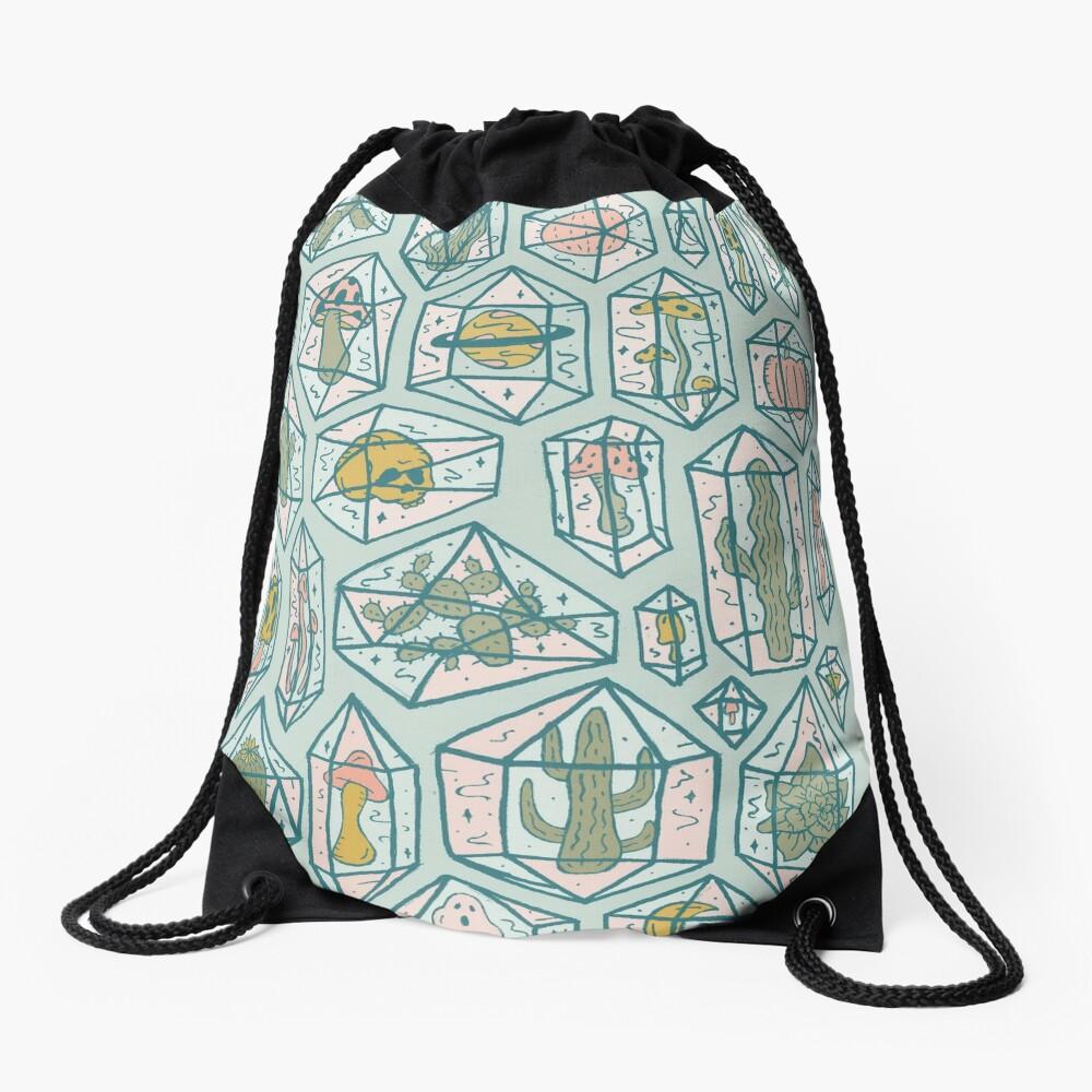 Crystals and Plants Drawstring Bag