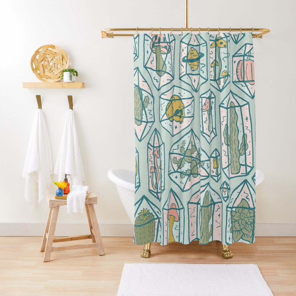 Crystals and Plants Shower Curtain