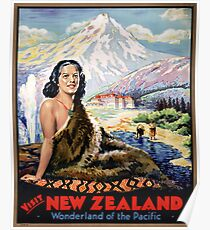 New Zealand Vintage Travel Poster Restored Poster