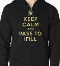 Keep Calm, Pass to Ifill (Yellow) Zipped Hoodie