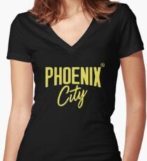 Phoenix City (Yellow) Fitted V-Neck T-Shirt