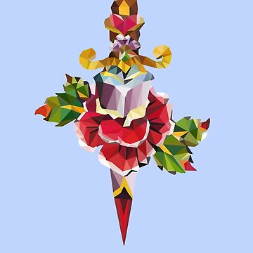 Low Poly Old School Rose and Dagger Tattoo Design by Morware