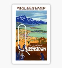 New Zealand Vintage Travel Poster Restored Sticker