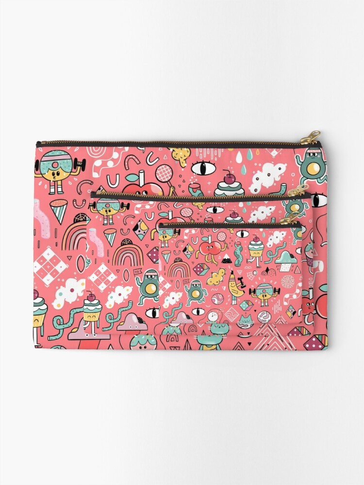 Alternate view of Funny crazy avocado, banana, ice cream, apple, cat, cupcake. Fitness food. Zipper Pouch