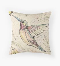 Hungry Happy Hummingbird Throw Pillow
