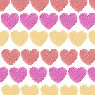 Red, Pink and Yellow Hearts by denisethorn
