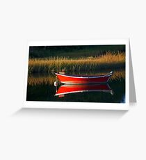Red Boat Mirror Greeting Card