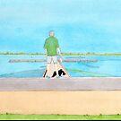 Lake Wendouree jetty in watercolour by Mitchell Harrop