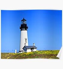 Hillside Blanket of Wildflowers at Yaquina Head Lighthouse Poster