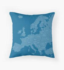 Europe map in blue Throw Pillow