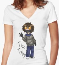Chibi Ticci Toby  Women's Fitted V-Neck T-Shirt