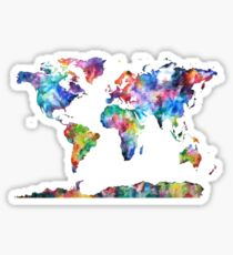 Water Color World Map Sticker
