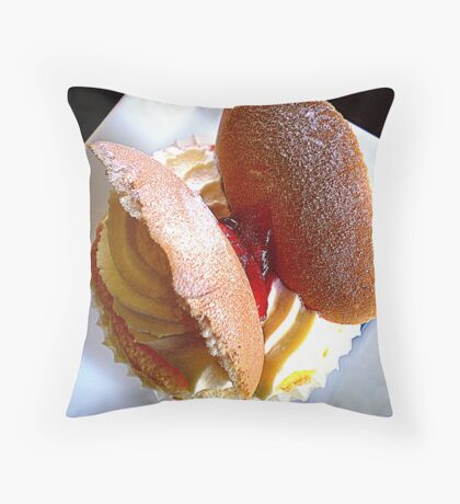 Butterfly Cream Cup Cake with a little jam Throw Pillow