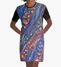 Fire and Water motif Graphic T-Shirt Dress
