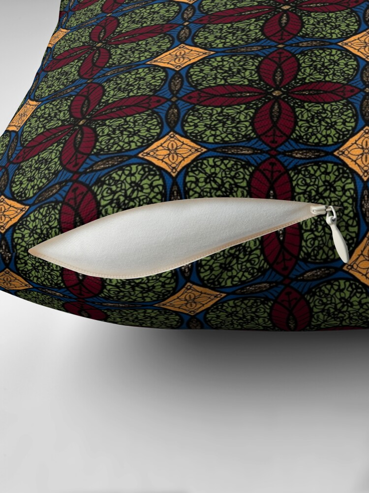 Alternate view of Ankara African print (olive). Floor Pillow
