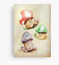 Mario Mushrooms Botanical Illustration Canvas Print