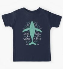 Anti Plastic Whale - Rette einen Wal Pass Up Plastic - Color Version Kinder T-Shirt