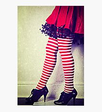 Red stripy socks Photographic Print