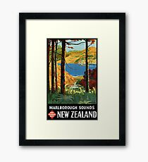 New Zealand Marlborough Sounds Vintage Poster Framed Print