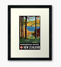 New Zealand Marlborough Sounds Vintage Poster Framed Print