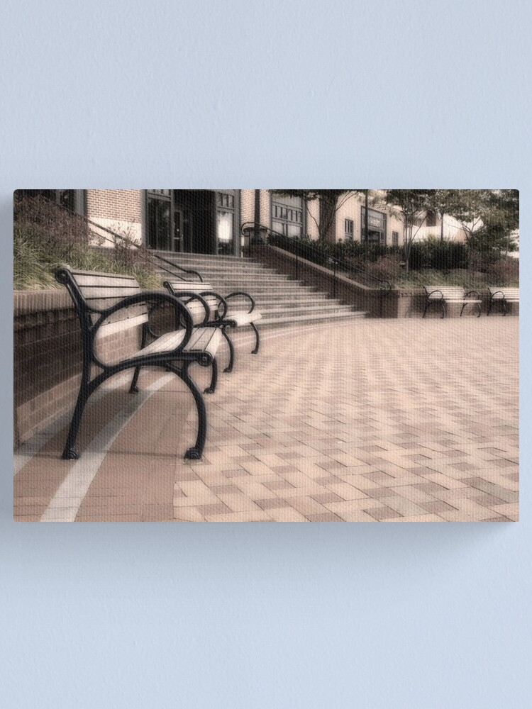 Alternate view of Benches Canvas Print