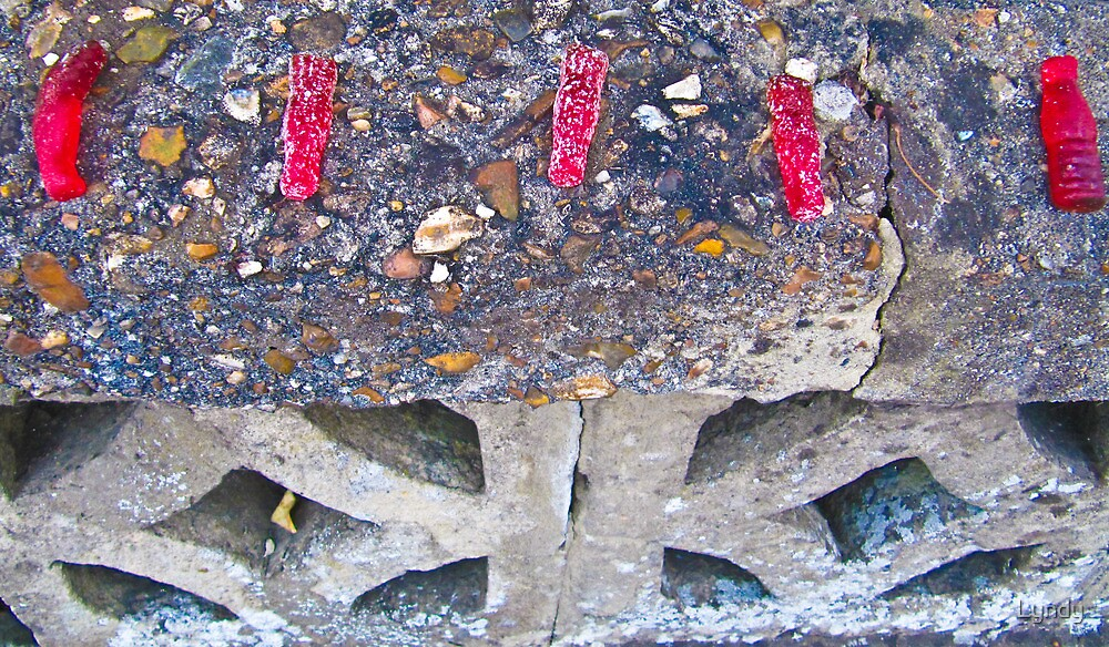 5 Red Bottles Sticking on the Wall! by Lyndy