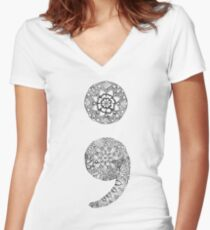 Patterned Semicolon Women's Fitted V-Neck T-Shirt
