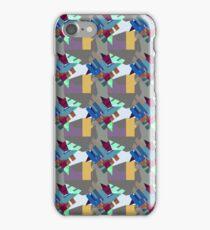 Blue Burgundy Crystal Cluster Pattern - Jenny Meehan  iPhone Case/Skin