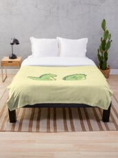 Cute Chubby Sleepy Dragon - Green Throw Blanket