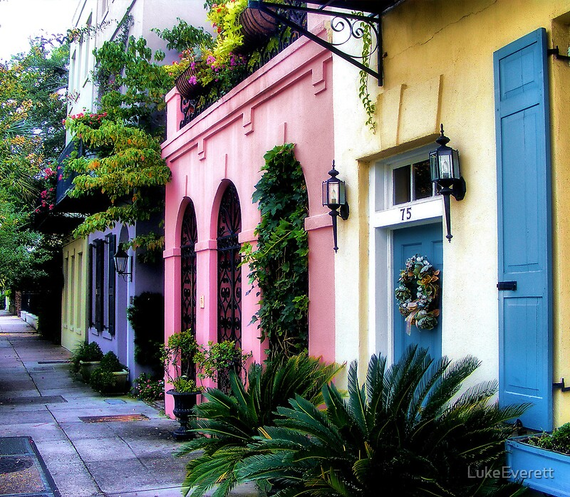 "South Carolina Home Decor South Carolina Art Columbia Sc: ""Summertime On Rainbow Row"" By LukeEverett"