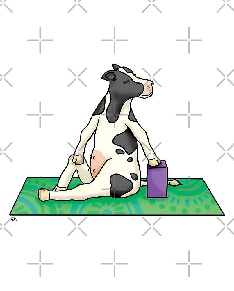 Cow in Twist Yoga Pose by Sara Kear