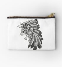 Indian Chief Skull with Headdress Zipper Pouch