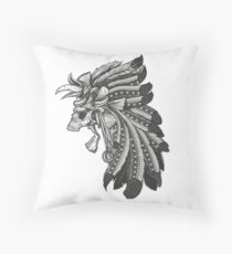 Indian Chief Skull with Headdress Floor Pillow