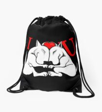 English Bull Terrier Valentines Day Design Drawstring Bag