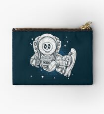 Space Skating Skull Zipper Pouch