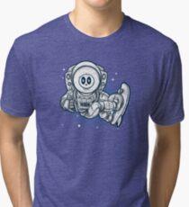 Space Skating Skull Tri-blend T-Shirt