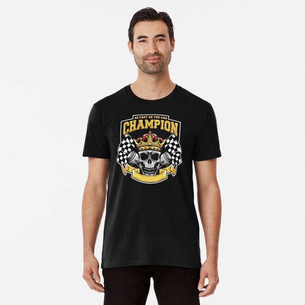 Racing Champion Skull Pistons Premium T-Shirt