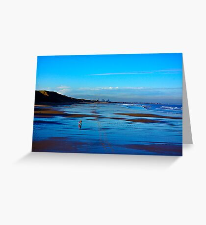Strolling on the Beach - Saltburn Greeting Card