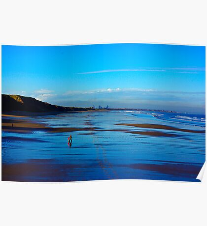 Strolling on the Beach - Saltburn Poster