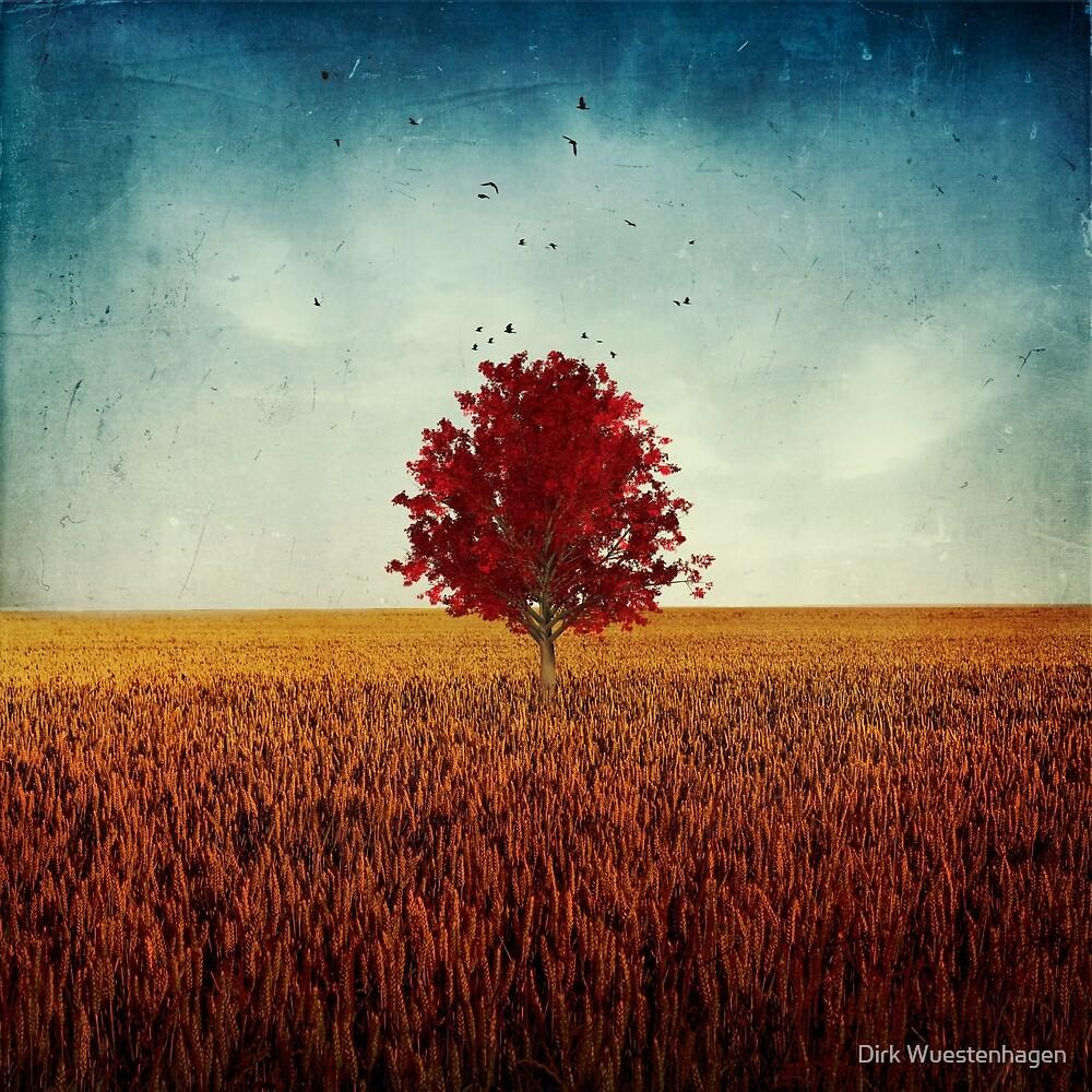 other - red tree in field by Dirk Wuestenhagen