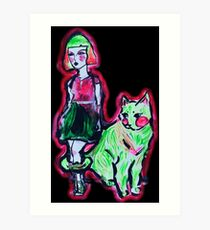 Space Cat and Neon Friend Art Print