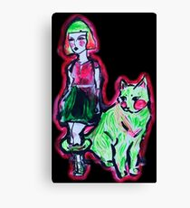 Space Cat and Neon Friend Canvas Print