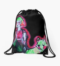 Space Cat and Neon Friend Drawstring Bag