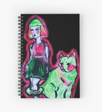 Space Cat and Neon Friend Spiral Notebook
