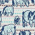 Fairisle Shetland Ponies - Blue by Juliewdesigns