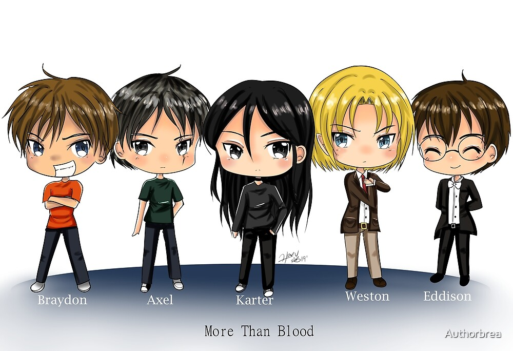 Karter and his vampires chibis from Book More Than Blood by Authorbrea