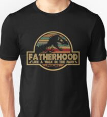 018d753c Fatherhood Like A Walk In The Park Retro Vintage T-Rex Dinosaur Father's  Day Slim