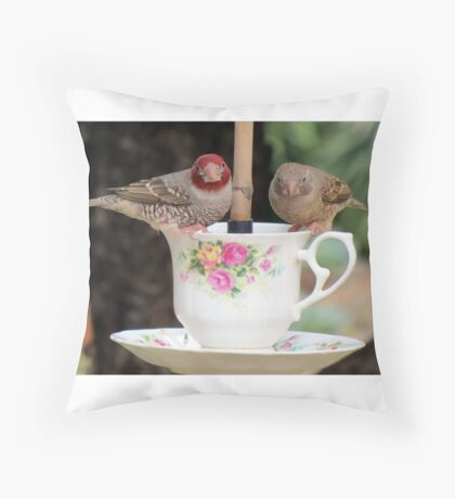 Redheaded finch: Male and female  Throw Pillow