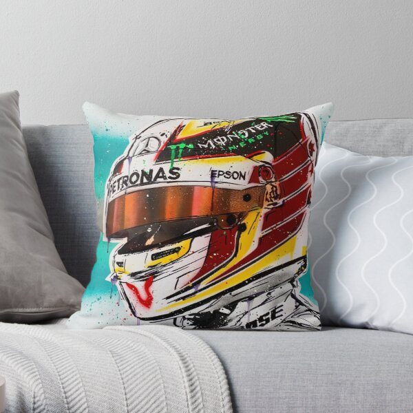 Lewis Hamilton F1 graffiti painting by DRAutoArt Throw Pillow