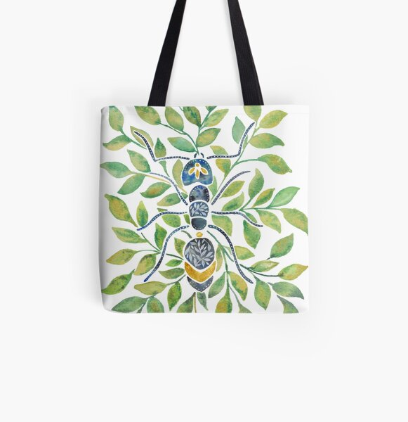 Ant on Leaves All Over Print Tote Bag